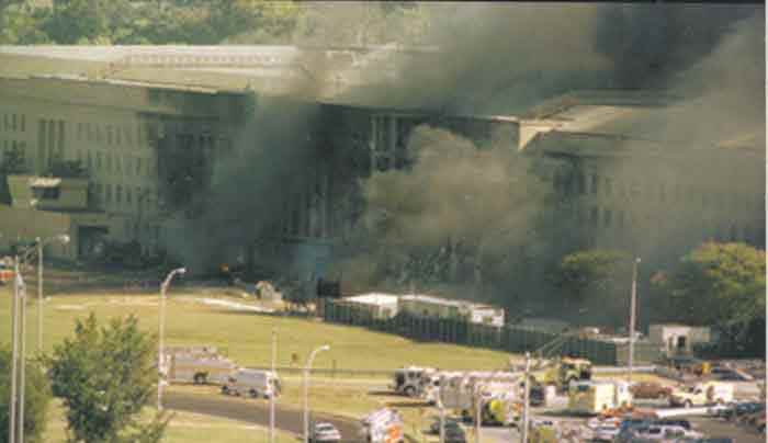 wide view of Pentagon attack